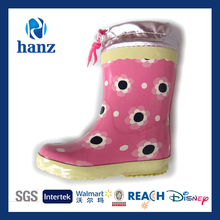 2015 Low Price Girl's Flower Print Boots for Rain Pink with Cuff Wholesale
