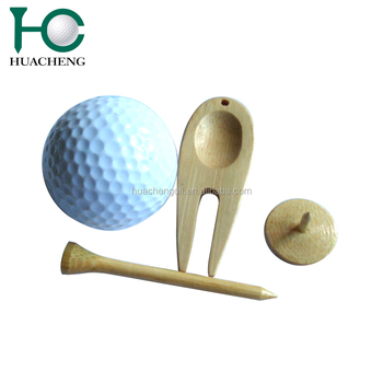 Custom golf ball with Natural bamboo golf tees,golf ball markers,golf divot tools