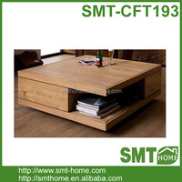 Japan style Double Layers Solid Wood Slab Coffee Table With Drawers