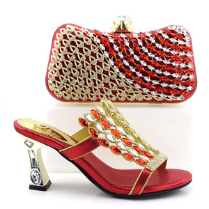 Fashion African Women Matching Italian Shoe and Bag Set Decorated with Rhinestone Nigerian Shoes and Bag Set