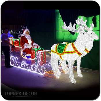 outdoor led lighted santa claus sleigh christmas decoration - Led Lighted Christmas Decorations