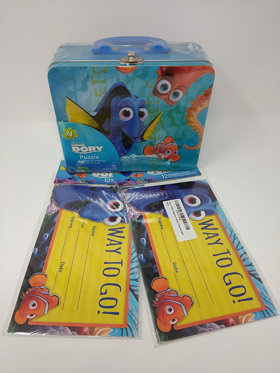Back to School Teaching Teacher Supplies Toddler Pre-school Elementary School Puzzle Tin Lunch Box Way to Go Awards 2 Pack DORY