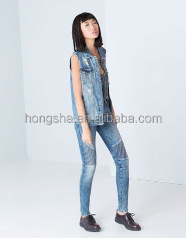Knitting decorative blue color jeans