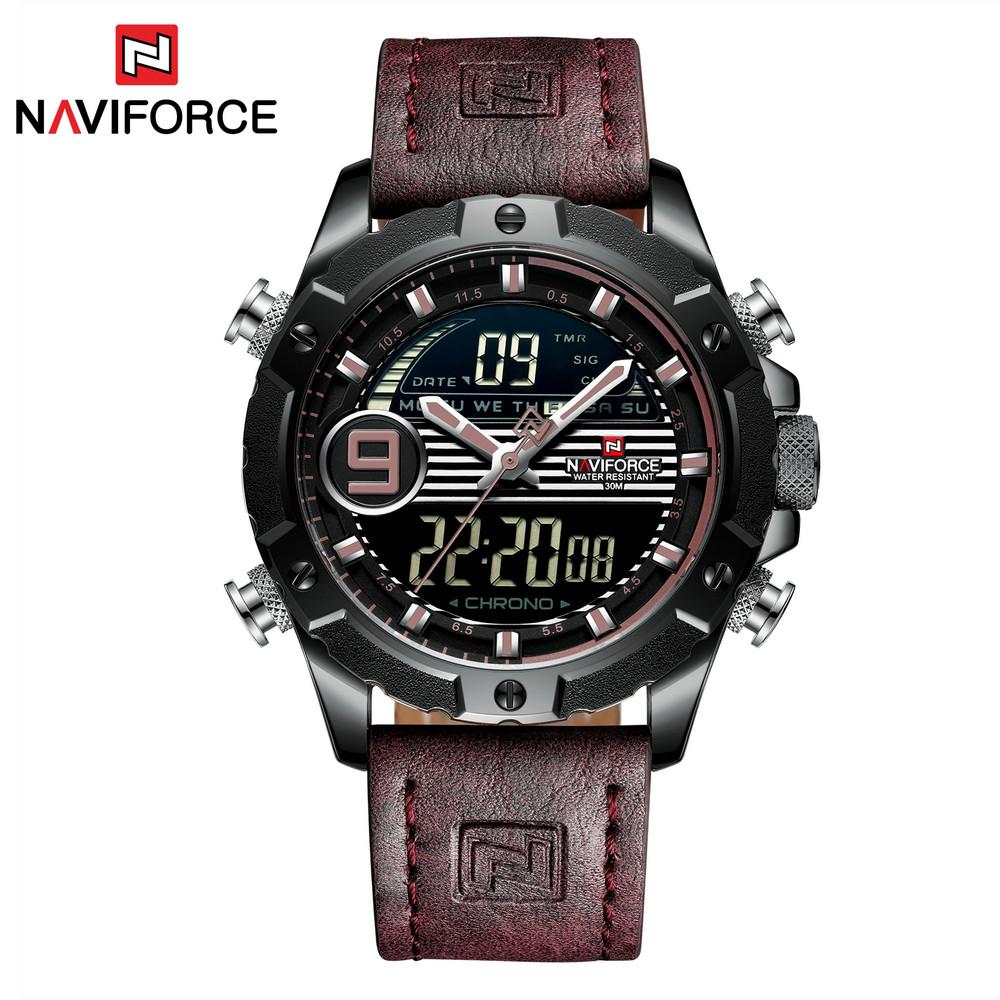 NAVIFORCE NF9146L Men Quartz+Digital Watches LED Clock Military Waterproof Leather Watch Relogio Masculino фото
