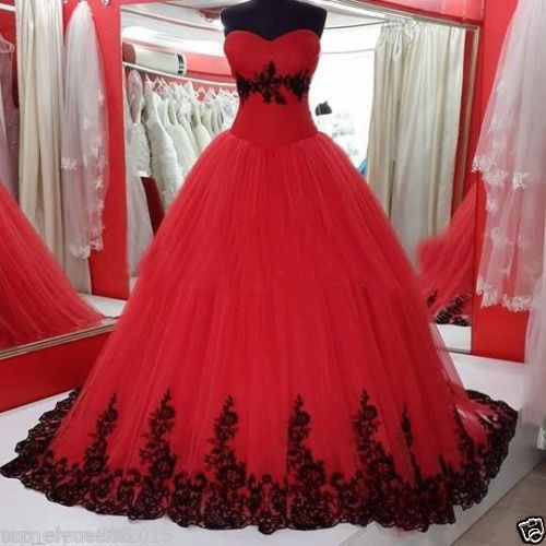 Vestiti Da Sposa Gotici.Fa74 Vintage Ball Gown Principessa Nero E Rosso Gotico Abiti Da