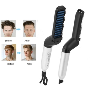 Quick hair styler ceramic curler flat iron hair and beard straightener with high quality hair & beard comb brush
