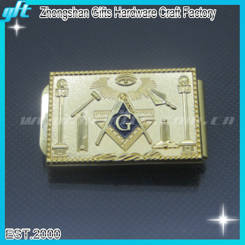 Custom gold color money clips/money clip with souvenir <strong>logo</strong> /metal money clip with masonic <strong>logo</strong>