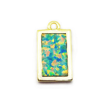 New design small rectangular fire opal pendant necklace multi pendants wholesale for necklace making