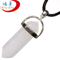 Bulk Wholesale Silver Wire Wrapped Natural White Jade Crystal Point Pendant wholesale wire wrapped pendants