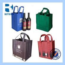 100% customized logo printing reusable 6 /4 bottles divided non woven wine drink carry bags
