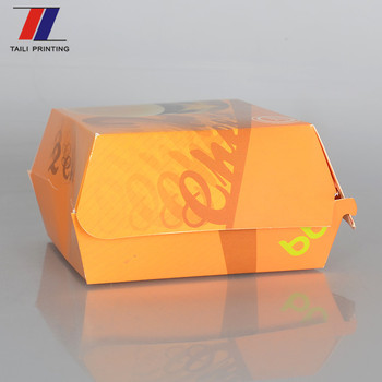 Food Grade Cardboard Hamburger Box Fast Food Packaging Burger Box ...