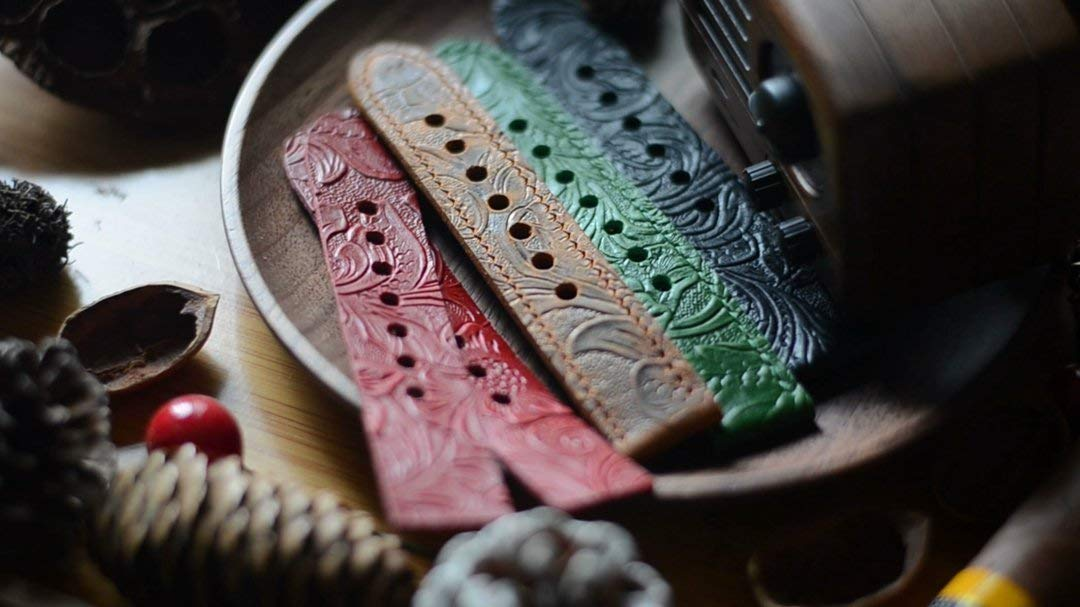 handmade Genuine Leather Watch strap Band Accessory For watch 18MM 20MM 22mm 24mm 26mm Black green red brown tan