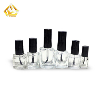 Custom 5ml 10ml 15ml Empty Glass Nail Polish Bottle With Black Cap Brush