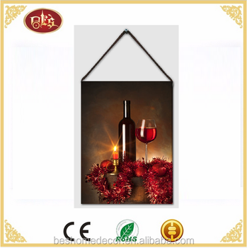 wine wall pictures painting canvas picture with led light led canvas wall art painting