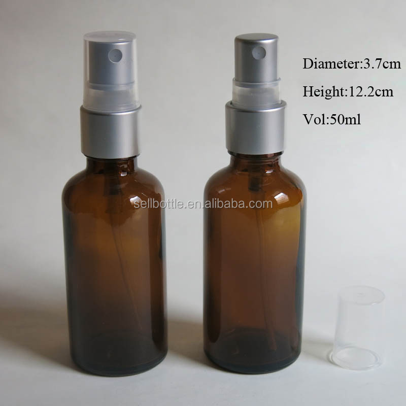 50ml glass essential oil bottle with silver spray/oil olive spray glass bottle