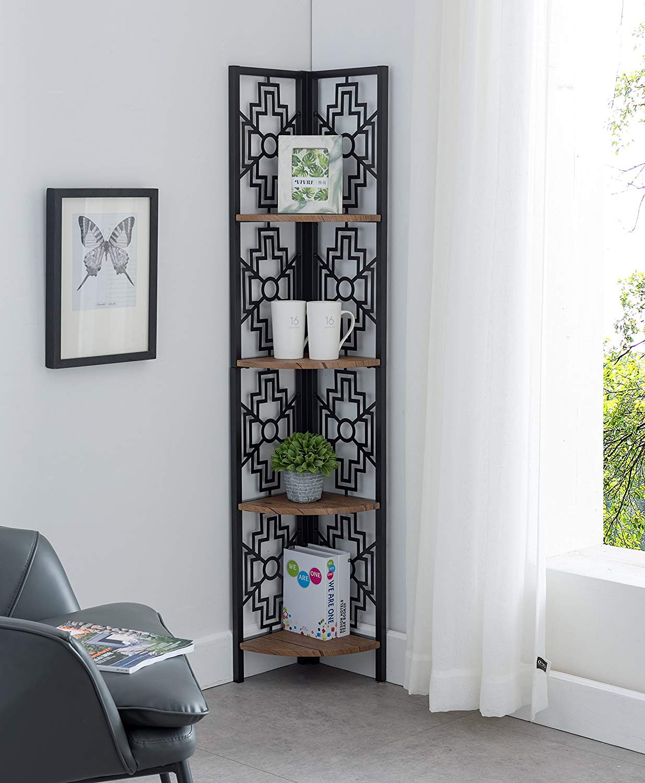 None Walnut Finish Shelves Metal Wall Corner 4-Tier Bookshelf Bookcase