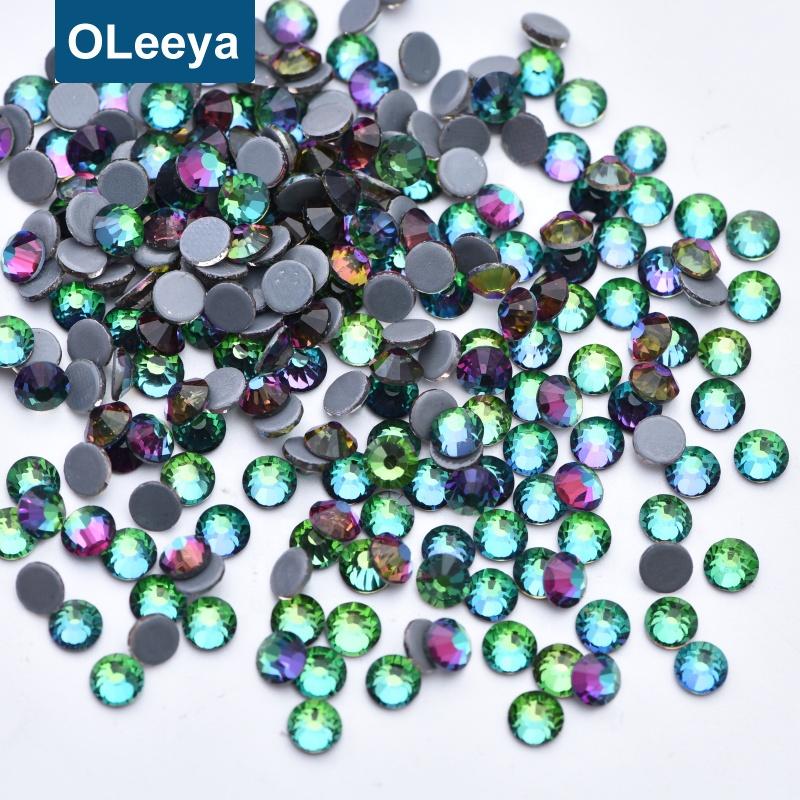 Oleeya Wholesale Popular Glass 60 Colors 2028 Quality Gemstones SS16 Green Volcano Hotfix Rhinestone For Gynmastics Leotard