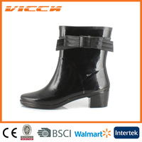 dress fashion lady high heel rubber boot with bow