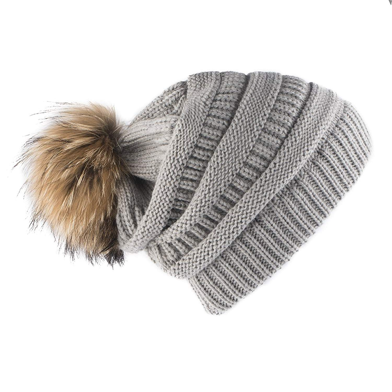 1e48f5ab8bf Roniky Womens Slouchy Knitted Winter Beanie Cap with Real Fur Pom Pom Hat