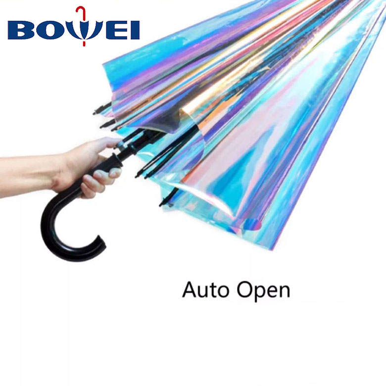 2020 trendy Change color clear poe holographic rainbow iridesent effect transparent reflective umbrella auto