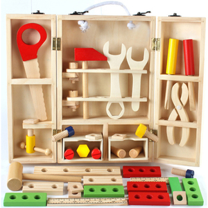 DIY Educational wooden simulation toolbox toys multi-function tool box for kids