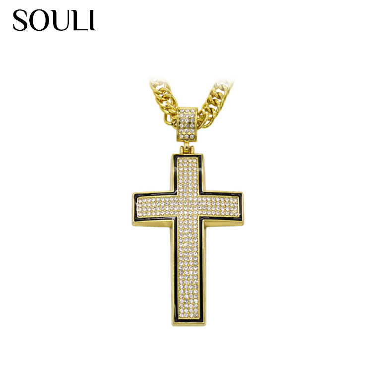 Free Sample Hip Hop Jewelry, Crystal Embedded Cross Pendant Necklace