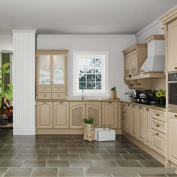 Oak solid wood kitchen Cabine handles kitchen design
