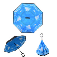 Amazon Top Seller 2019 Promotion Printing Customs Logo Creative Double Layer Foldable Inverted C Shape Umbrella