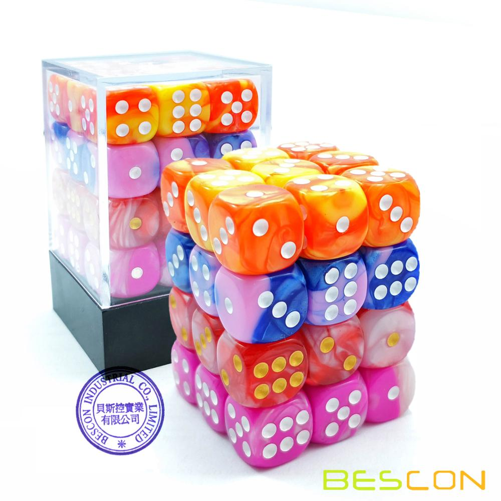 Bescon 12mm 6 Sided Dice 36 in Cube, 12mm Six Sided Die (36) Block of Dice, Gemini Effect in All Assorted Flower Colors фото
