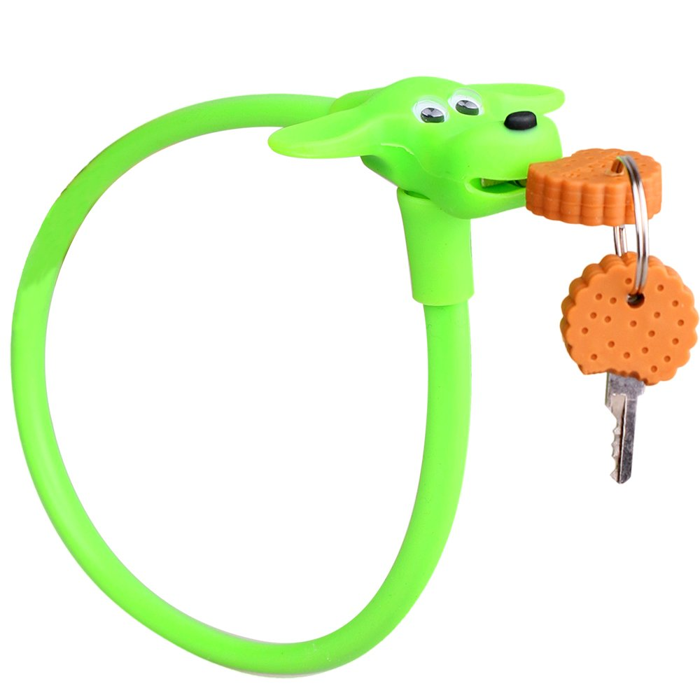 Silicone Bike Lock - DRBIKE Green Dog Bicycle Lock for Kids Bike, Soft Touch Material for Toddler Bike, Kids Accessories, 450MM/580 MM
