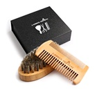 Amazon hot selling wooden handle boar bristle hair brush beard brush