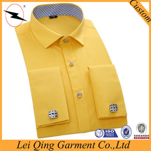 Formal or casual occasion bright color cotton light yellow high quality yellow men shirt