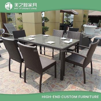 Rattan Garden Furniture 6 Seater aluminum frame 6 seater rattan restaurant dining chairs set