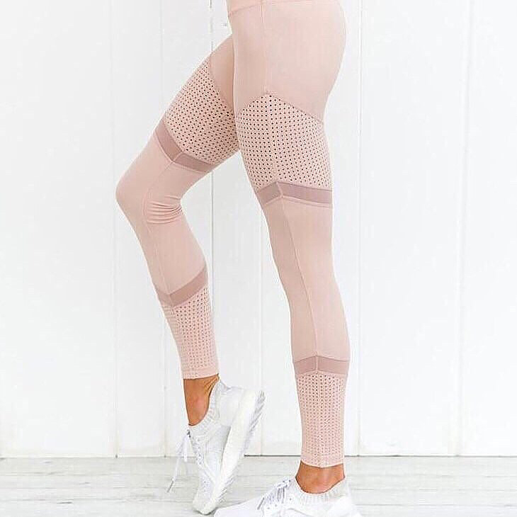 fbada22f4036 2018 nuevo patrón de malla de impresión polainas Fitness las mujeres  Leggings deportivos entrenamiento Leggins pantalones