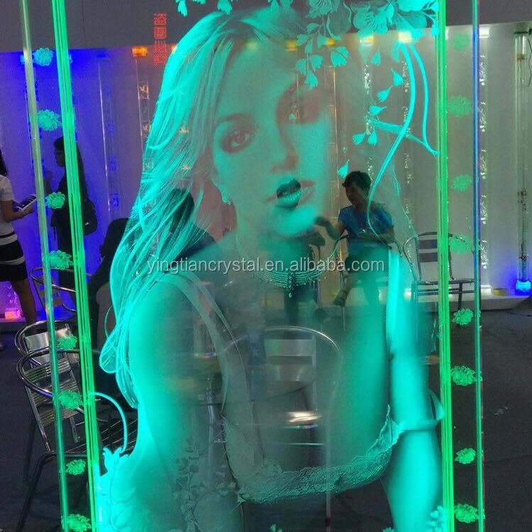 Customized design high quality 3D laser crystal wall decoration