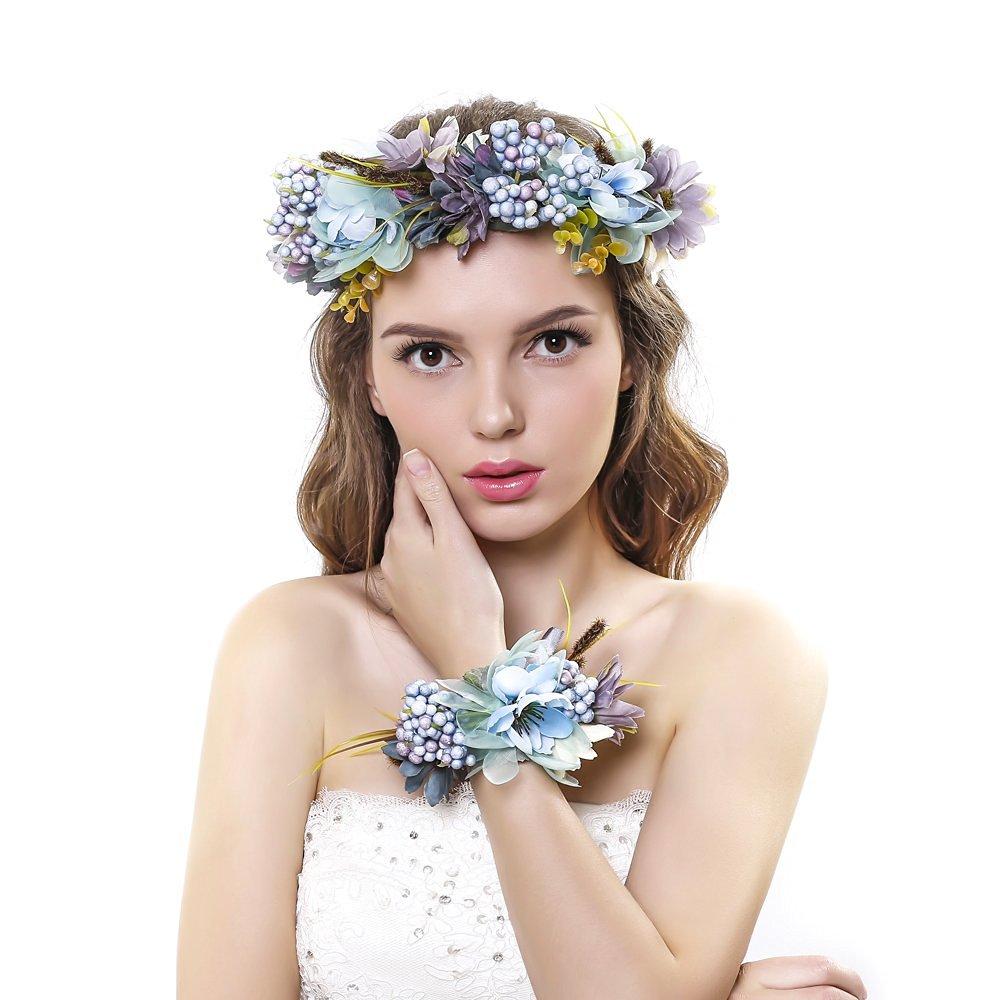 Scala Bride women Rose Flower floral wrist flower girl garland crown Hairband Wedding Flower Garland Headband Festival flower wreath Elastic Headress Hair Accessories (Blue)
