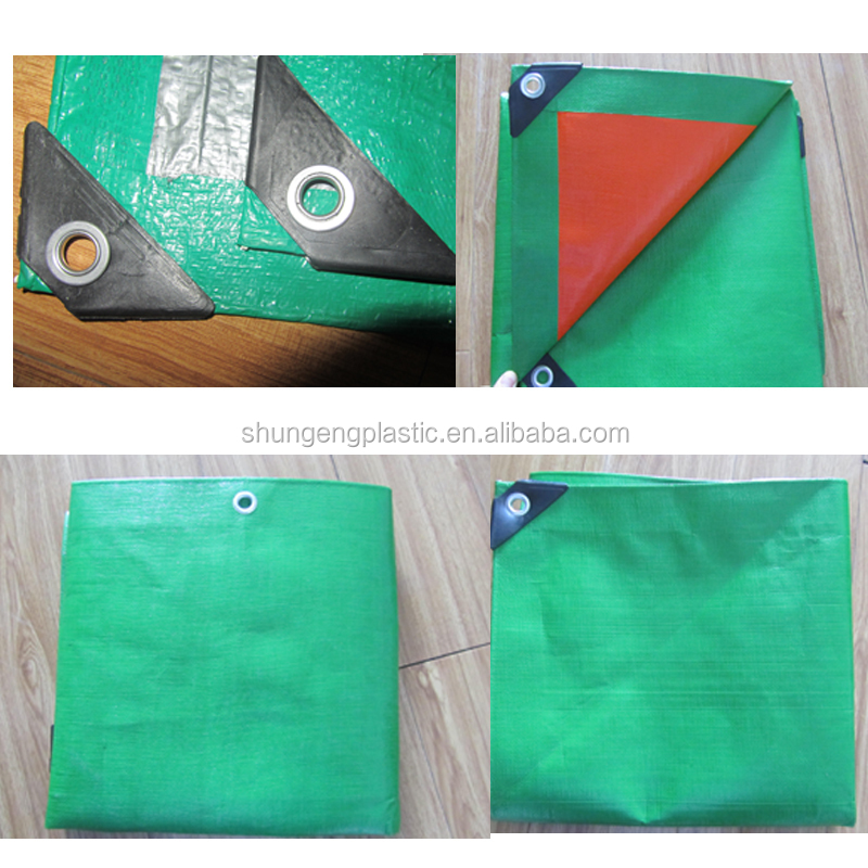 green/orange heavy duty pe tarpaulin/tarp with reinforced plastic corner