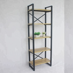 free flooring 5 layers steel wooden knock down book shelf convenience store shelf