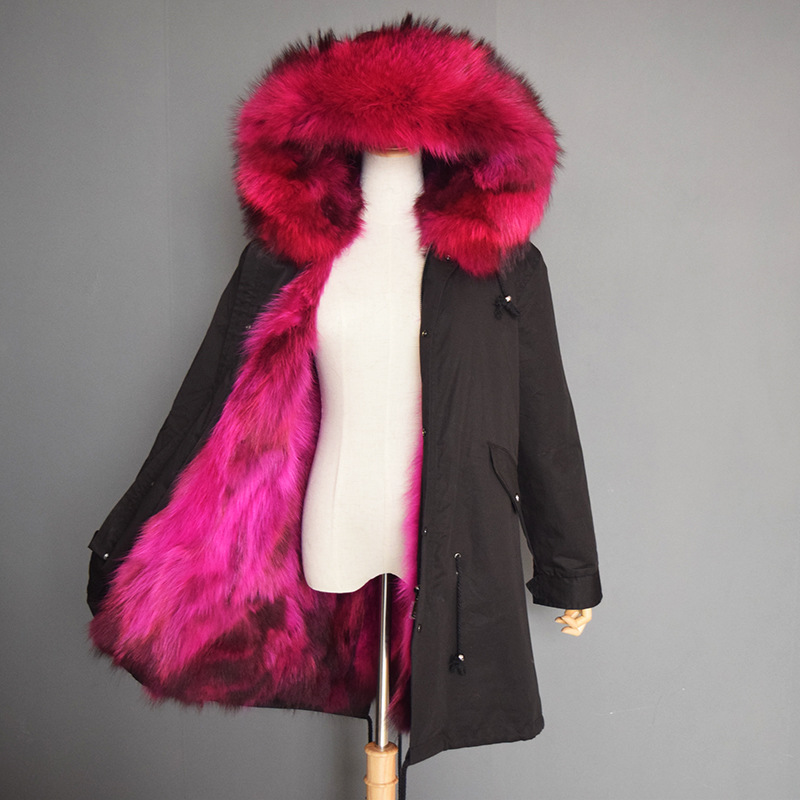 New Style Fashion Raccoon Womens Coat Winter Fur Parka