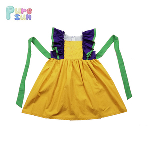 wholesale children's boutique clothing 2019 mardi gras clothing woven cotton baby girls dress