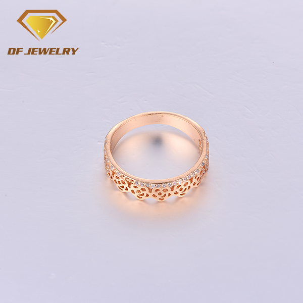 CR1707362 Simple Brass Jewelry Cubic Zirconia Rose Gold Ring Men