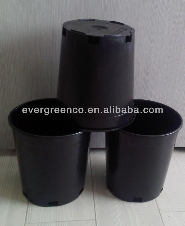 Pp Large Outdoor Plastic Pots Black Garden Pots Black Plastic