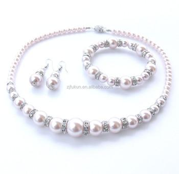 8 12mm Handmade Pearl Tri Sets Glass Pearl Jewelry Set Wedding