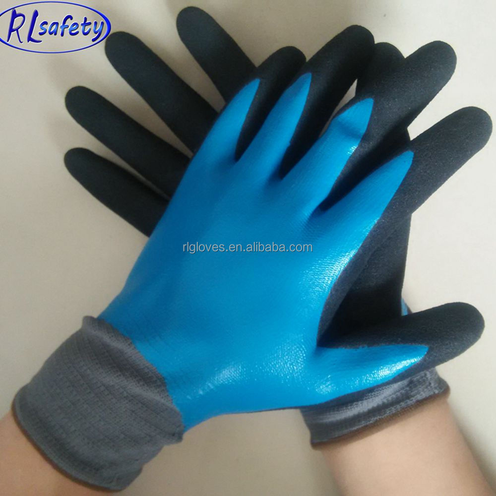 Favorable price Palm dipping Blue Sandy Latex Coated Gloves en 388