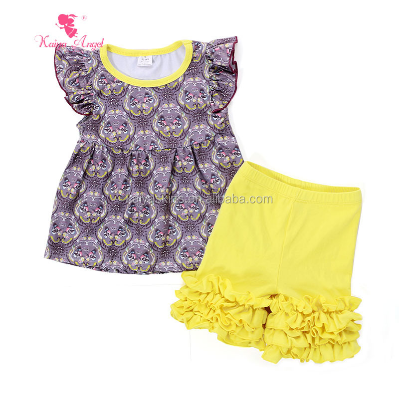 Girl sports clothes sets childrens boutique clothing fall casual outfits with short sleeve