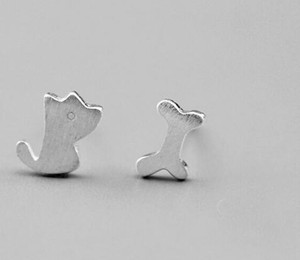 lady 925 silver dog and bone fashion stud earring