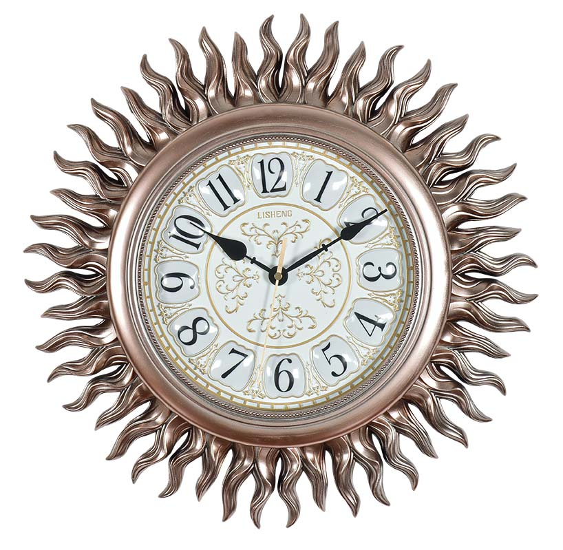 Quartz analog type sunburst gold wall clock B8110G