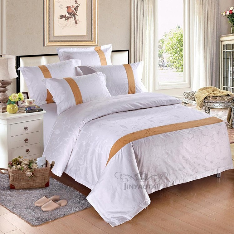 100% Cotton 5 Star Hotel Embroidery 3 lines Bed Sheet Linen Set