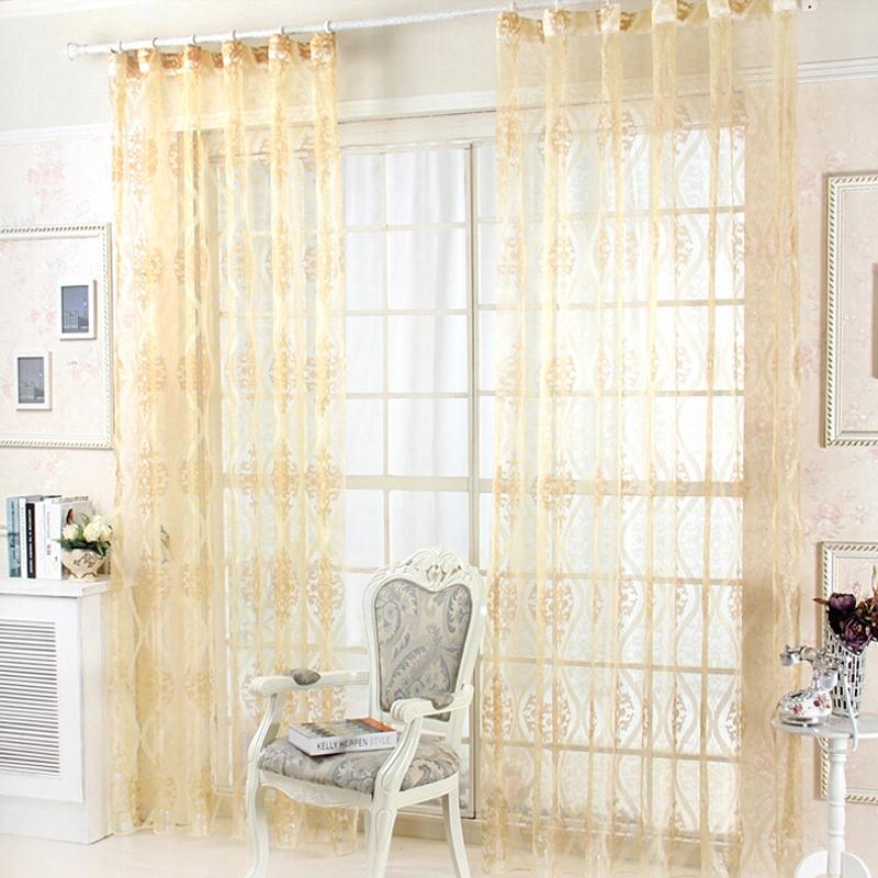 New arrival golden flocked rustic voile window sheering home decorator for living room bedroom sl034#30