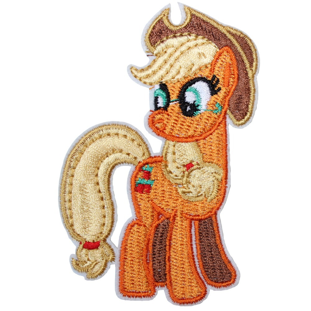 Wholesale!6pcs Embroidered Cartoon Emblem Iron On Patches My Little Pony Horse AppleJack Garment DIY Applique 3.54x2.36inch
